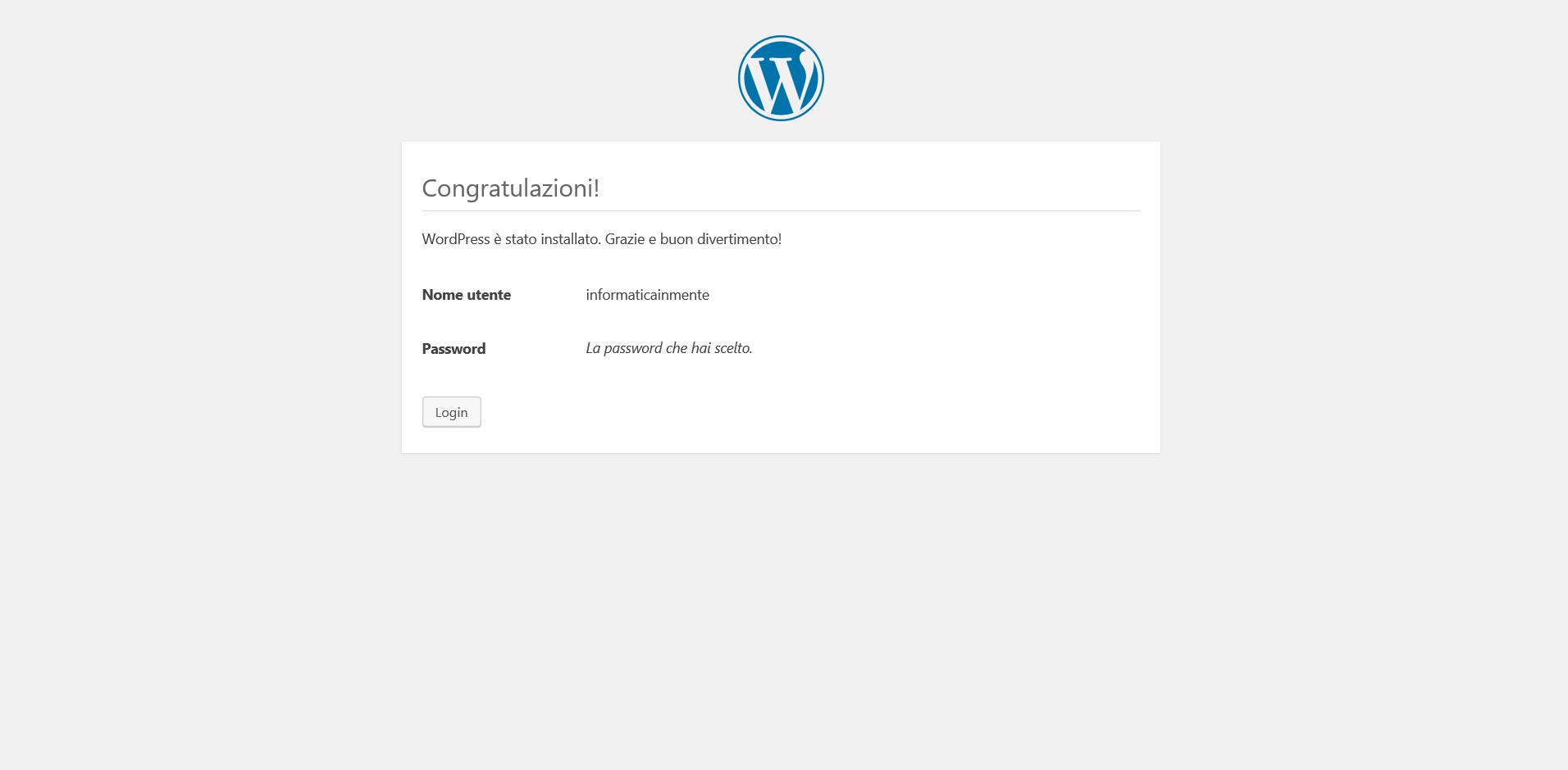 wordpress installato